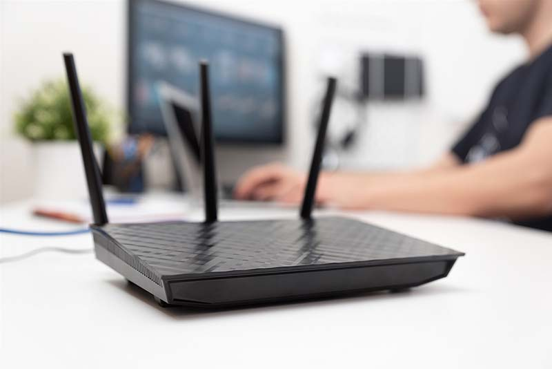 Wireless Router on Computer Desk
