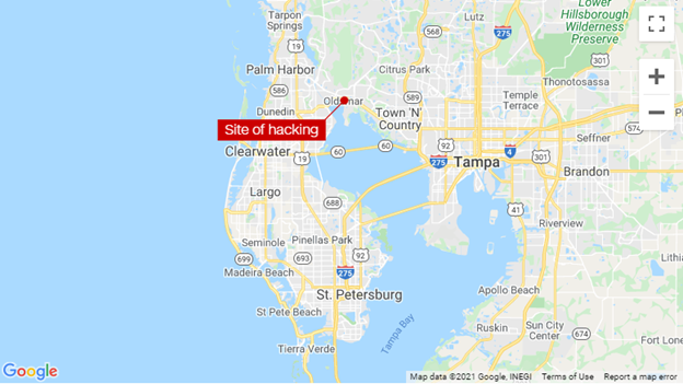 Map of Florida Water Department Hacking Attempt